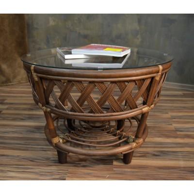 Журнальный стол ЧЕРЧИЛЬ из натурального ротанга, со стеклом