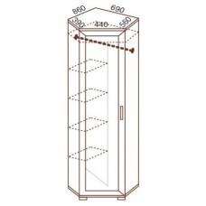 Шкаф для одежды МС-104 угловой, 86х69х218 см
