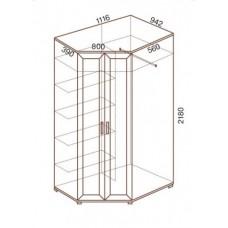 Шкаф для одежды МС-145 угловой, 112х94.2х218 см