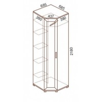 Шкаф для одежды МС-147 угловой, 68,5х68,5х218 см