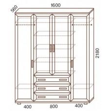 Шкаф для одежды МС-148, с комодом
