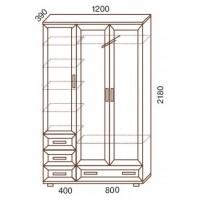 Шкаф для одежды МС-161, 120х39х218 см