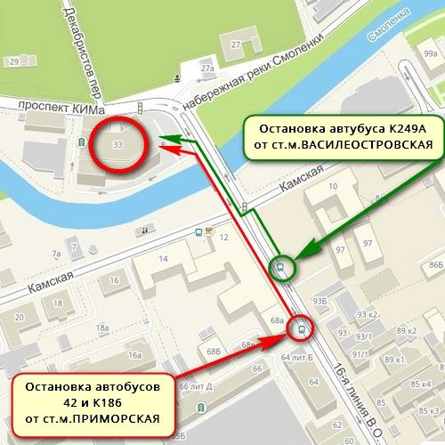 Схема прохода от остановки =КАМСКАЯ дом 12= до набережной реки Смоленки 33